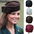 Ladies Teardrop Fancy Fascinator Wool Pillbox Hat Formal Racing Bowknot Dress Hat for Women Cocktail Party Wedding Church Fedora