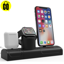 3-In-1 Charging Stand For iPhone X/XS Silicone Charging Dock Station For Apple Watch 1/2/3/4 Desktop Holder For Airpods 2 in 1 charging