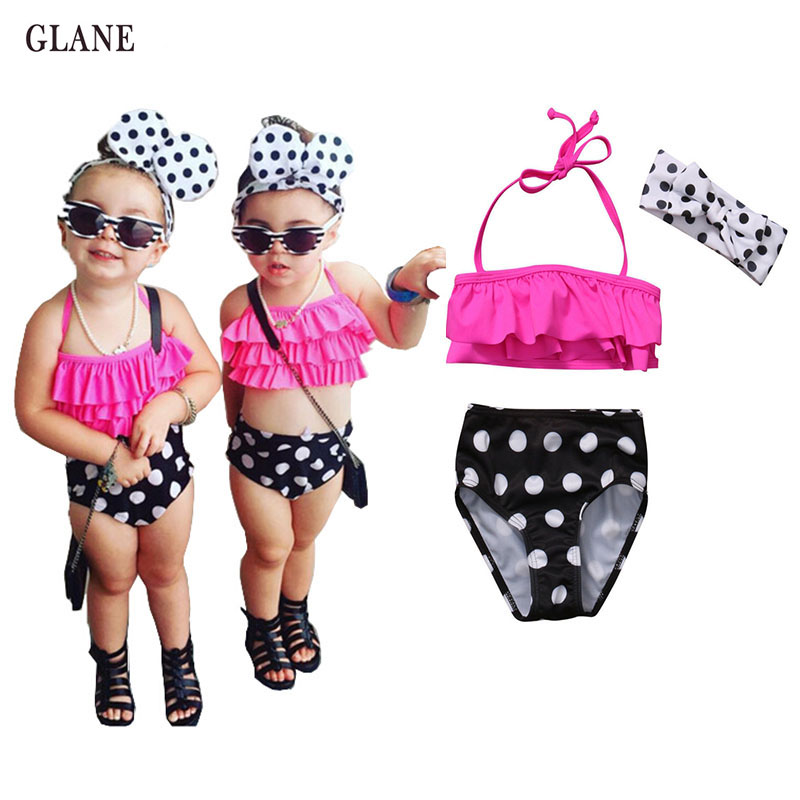 Kids Dot Swimmer Girls Bathing Suit Infantil Swimwear For Girls Girls Bathers Children 3pieces Lovely Girl Swimsuit 2-6T