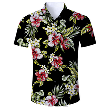 2018 Men's Hawaiian Shirt Short Sleeve Mens Dress Shirts Slim Fit Camisa Masculina Summer Hawaii Casual Male Flower Print Shirt