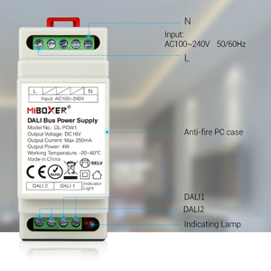 Image 3 - Miboxer DL POW1 DC16V DIN Đường Sắt Đại Lý Bus Nguồn Cung Cấp 4W Max250mA LED Biến Áp AC 110V 220V đại Lý RGB CCT Đèn LED Âm Trần Downlight