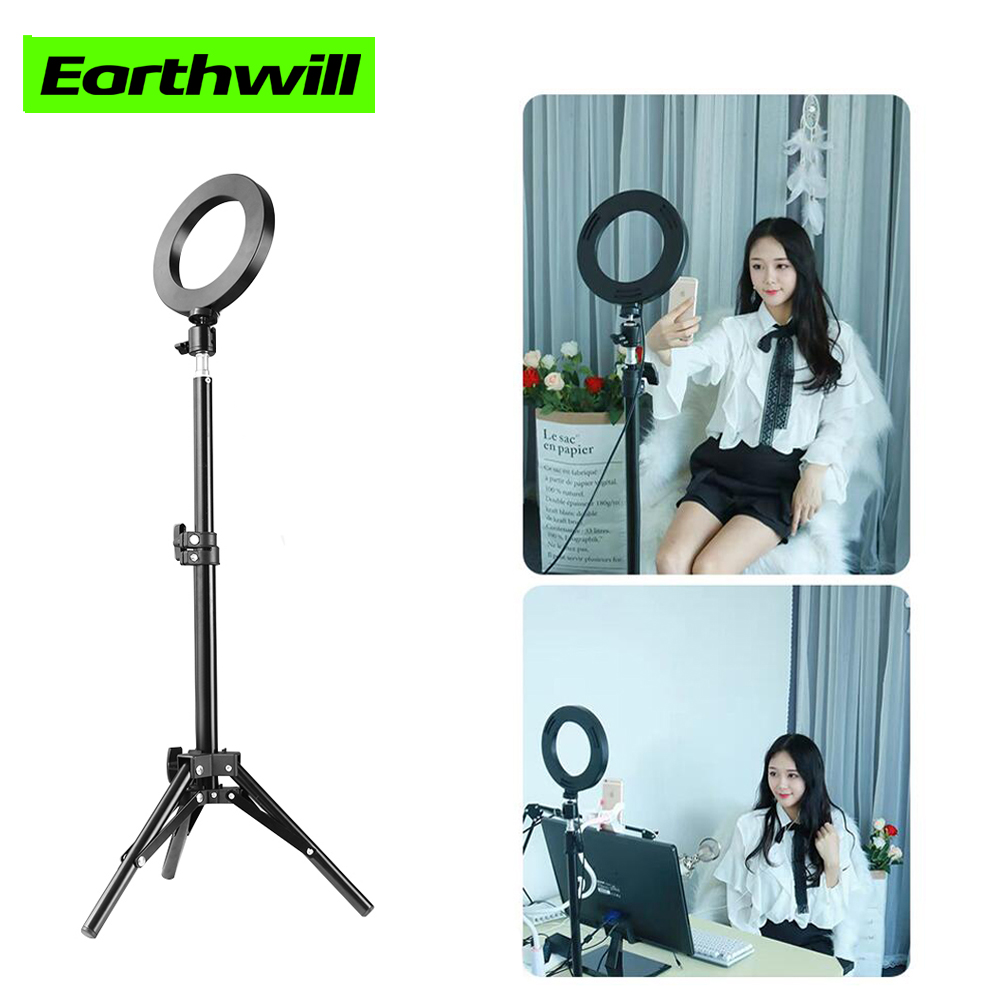 Photography 6 Inch Fill Light Dimmable LED Self-timer Ring Lights Video Live 3500-5500k Indoor Shooting Light USB Plug 3 Modes