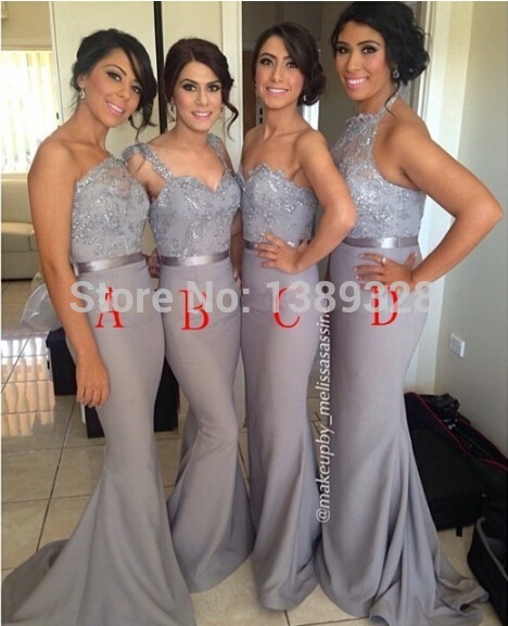Real Picture Wholesale Silver Chiffon Beaded Lace Sheath Cheap   Bridesmaid     Dresses   Long With Sash Best Selling