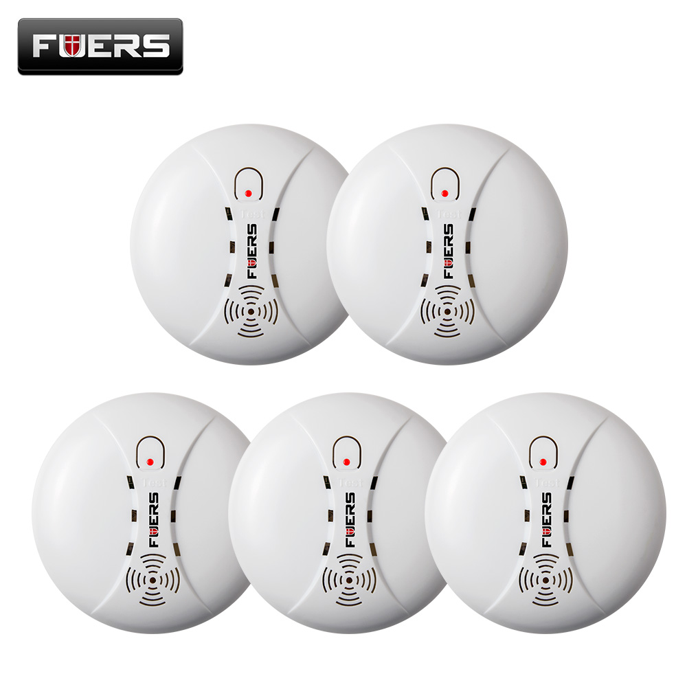 5ps high quality Wireless Smoke Detector Fire Protection Sensor For Home Shop GSM Security  Alarm System kerui alarm Systems wireless smoke fire detector for wireless for touch keypad panel wifi gsm home security burglar voice alarm system