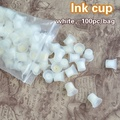 100pcs white color plastic tattoo Ink permanent cup Easy Ring Ink Container/Cup For INK Supply free shipping