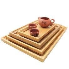 Деревянный поднос для сервировки чая кунг-фу, поддон для хранения столовых приборов, фруктовая тарелка, украшение, 6 размеров, Японская еда, бамбук, прямоугольный