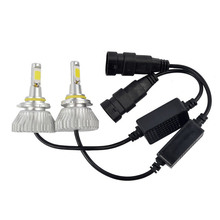 Auto Car H7 LED Headlights 2X24W 5000K 4400LM 12 24V COB Bulbs 2sides Diodes White Automobiles Replacement Head Fog Lamp SP32D0(China)