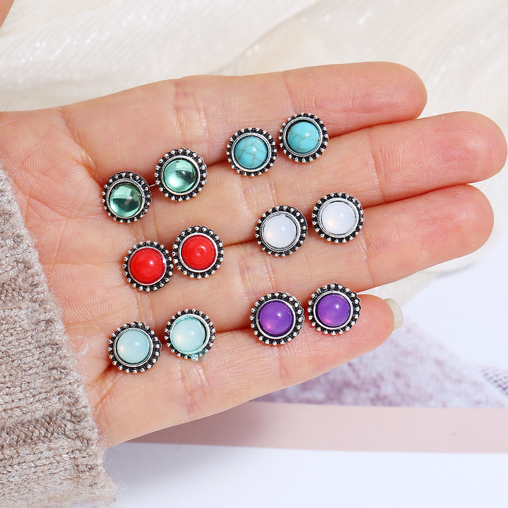 6 Pairs/Set 2019 Fashion Earrings Set Vintage Geometric Elegant Colorful Crystal Stud For Women Wedding Jewelry