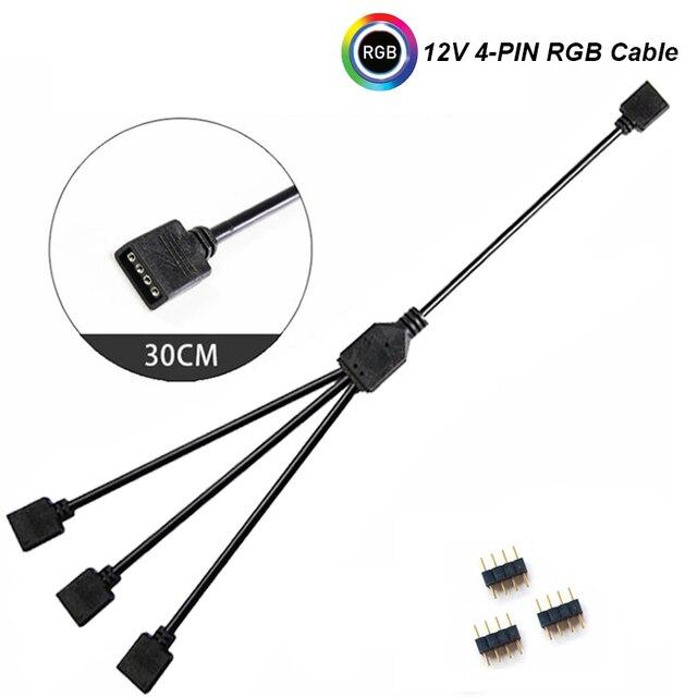 12 V/4pin 5 V/3-pinowy przedłużacz AURA RGB, płyta główna do 2 lub 3 lub 4 RGB złącza Splitter Hub do PC LED listwa oświetleniowa