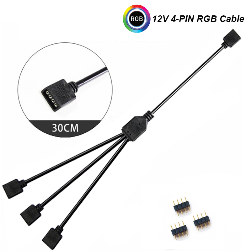 Image 3 - 12V/4pin 5V/3 pin AURA RGB Extension Adapter Cable,Motherboard to 2 or 3 or 4 RGB Connectors Splitter Hub for PC LED Light Strip-in Computer Cables & Connectors from Computer & Office