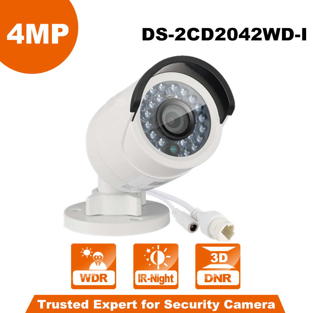 Original English Hikvision DS-2CD2042WD-I 6mm Full HD 4MP High Resoultion 120dB WDR POE IR IP Bullet Network CCTV Camera камера видеонаблюдения hikvision ds 2cd2022wd i 4 mm ds 2cd2022wd i 4 mm