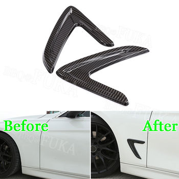 Karbon Fiber Stil Araç Yan Kanat Hava Akış Fender Vent Kapak BMW 3 Serisi 2013-2017 Için araba aksesuarları araba-tasarım araba sticker