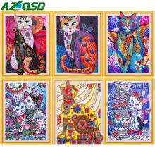 AZQSD Special Shape Diamond Painting Animal 5D DIY Embroidery Cat Mosaic Picture Of Rhinestone 40x50