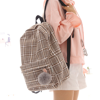 2019  new design plaid linen girls backpack women leisure bag teenager school student book bag daily shopping bag young ajalt japanese for young people ii student book