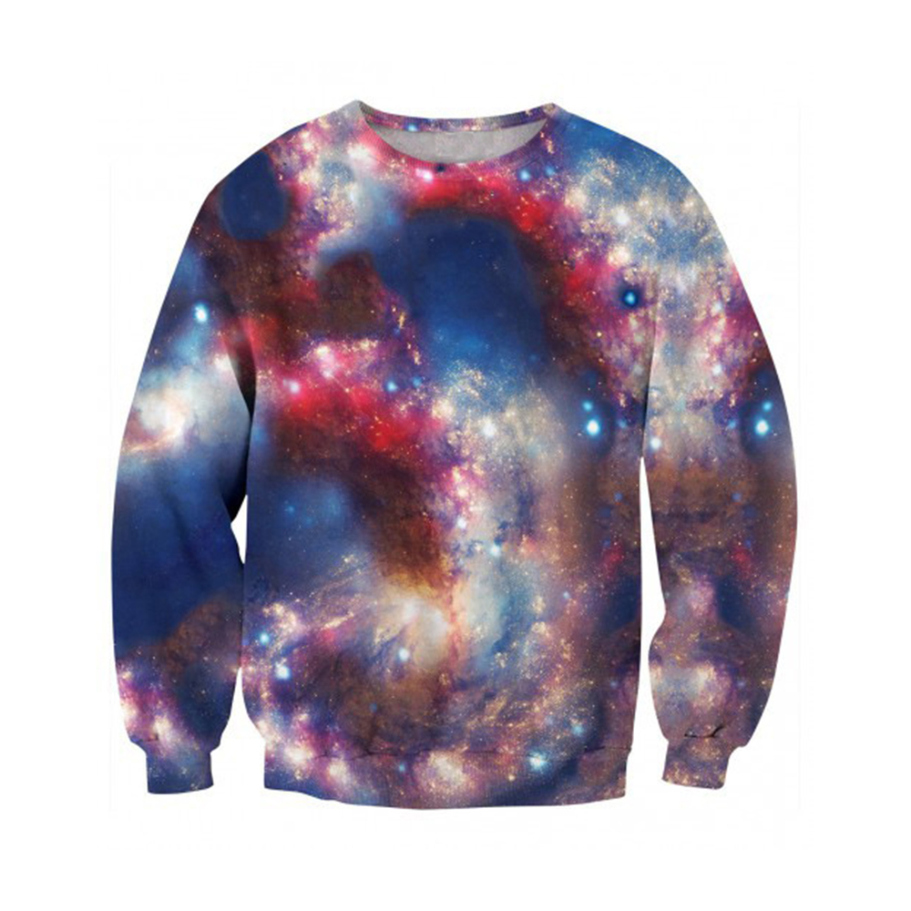 Starry Sky Romantic Sweatshirt Pullover Men Space 3D Novelty Light Streetwear Stylish Harajuku 6XL Sweatshirts Hoodie For Mens