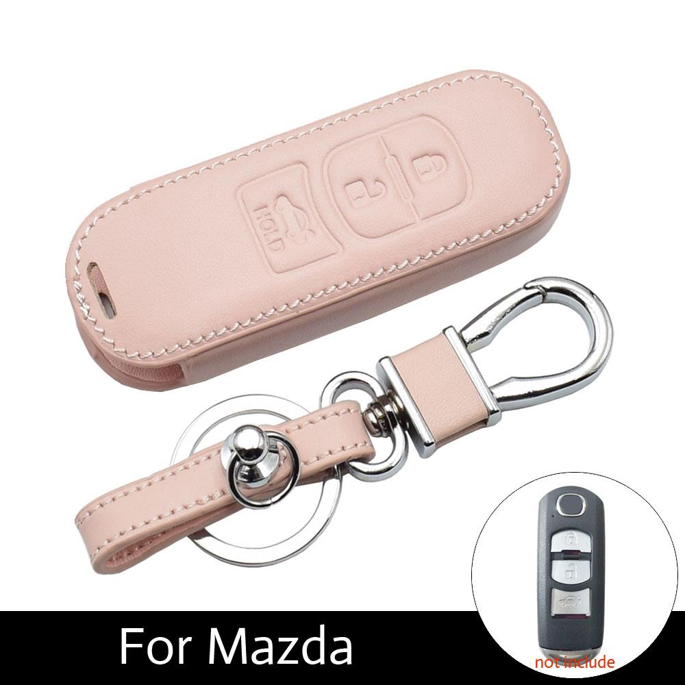 KUKAKEY Flip Folding Car Key Case for Mazda 2 3 5 6 CX5 CX-5 M2 M3 M5 M6 Leather Keychain Keyring Key Holder Cover Bag Shell Color Name Brown 2Key