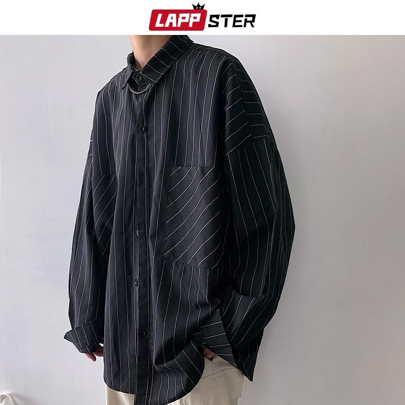 LAPPSTER Men Stiped Shirts Streetwear Casual 2019 Man Black Oversized Shirts White Harajuku Vintage Long Sleeve Shirt For Men