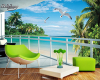 Wall Paper For Walls 3d Custom Photo Wallpaper 3D Stereoscopic Balcony With Sea View Living Room