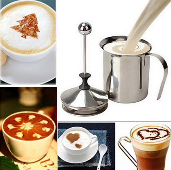 High Quality 400ML Stainless Steel Double Mesh Milk Frother Milk Foamer Milk Creamer Kitchen Tool Free Shipping
