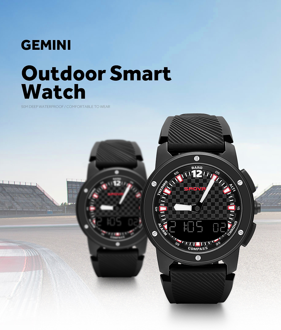 Men's Watches New Fashion Spovan Gemini Men Sport Watches Double Display Wristwatch Led Backlight 5atm Waterproof Multifunction Male Clock Elegant In Style
