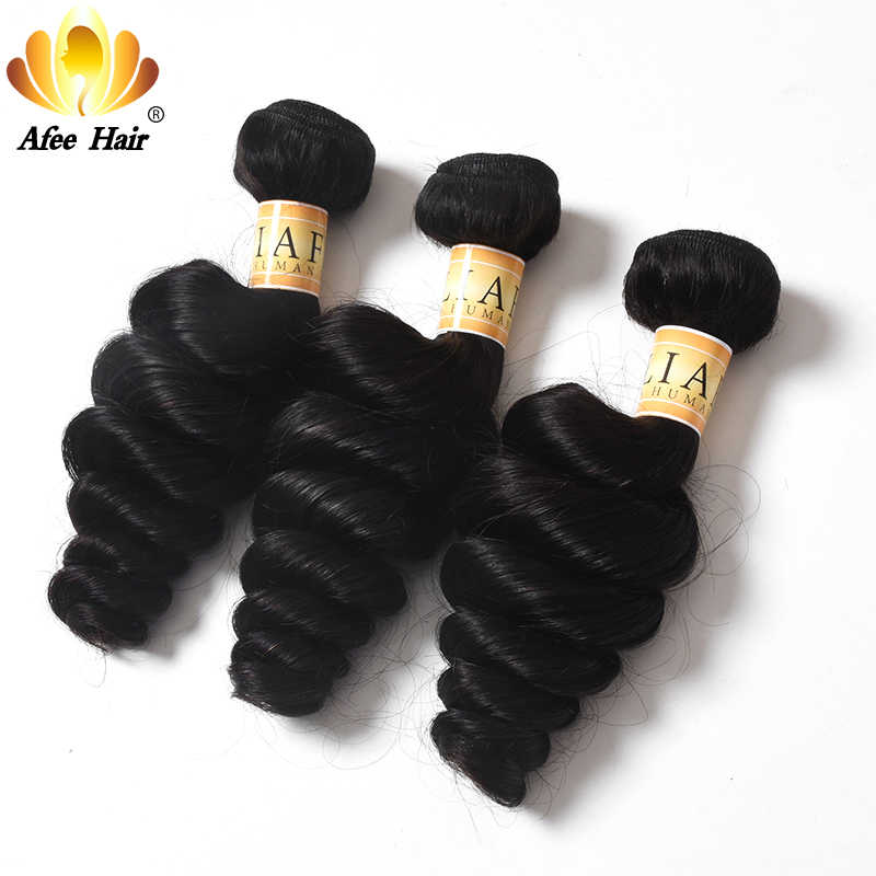 AliAfee Hair Brazilian loose Wave Weave 1 Bundle Deals 8-28 Inch Brazilian Hair 100% Human Hair Extensions 1B Non remy Hair