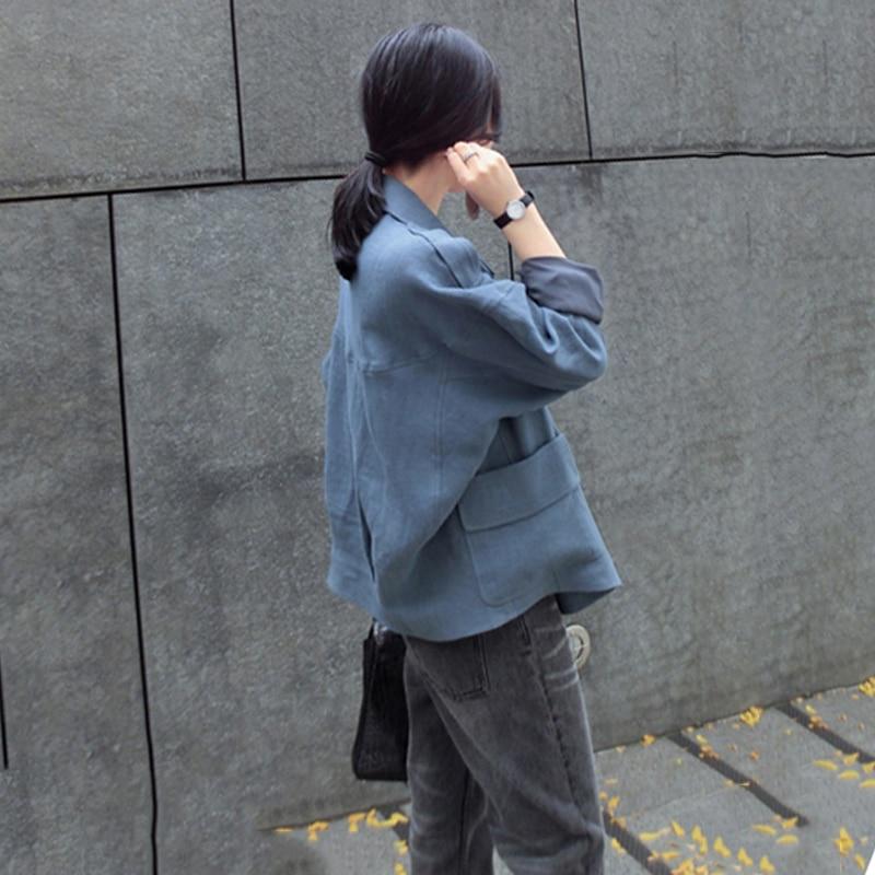 Coton Et À Vêtements Lâche white coréen Couleur Longues blue Manteau 2018 D'été Lin Solide De Femmes Automne Lady Costume Nouvelle Manches Linge Creamy X173 FTlK1Ju3c