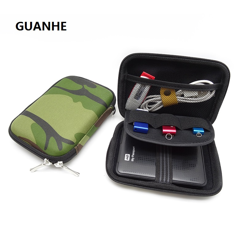 GUANHE Military green Carry Case Cover for 2.5 inch Power Bank USB external WD seagate HDD Hard Disk Drive Protect Bag Case