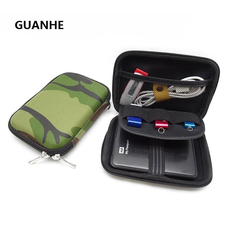 GUANHE verde militar llevar cubierta de la caja para 2,5 pulgadas Banco de la energía USB externo WD seagate de disco duro HDD proteger bolsa caso