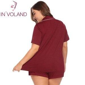 Image 4 - INVOLAND Vrouwen Pyjama Set grote Maat XL 5XL Nachtkleding Revers Korte Mouw Knop Boog Down Shirt Shorts Grote Lounge Plus Size