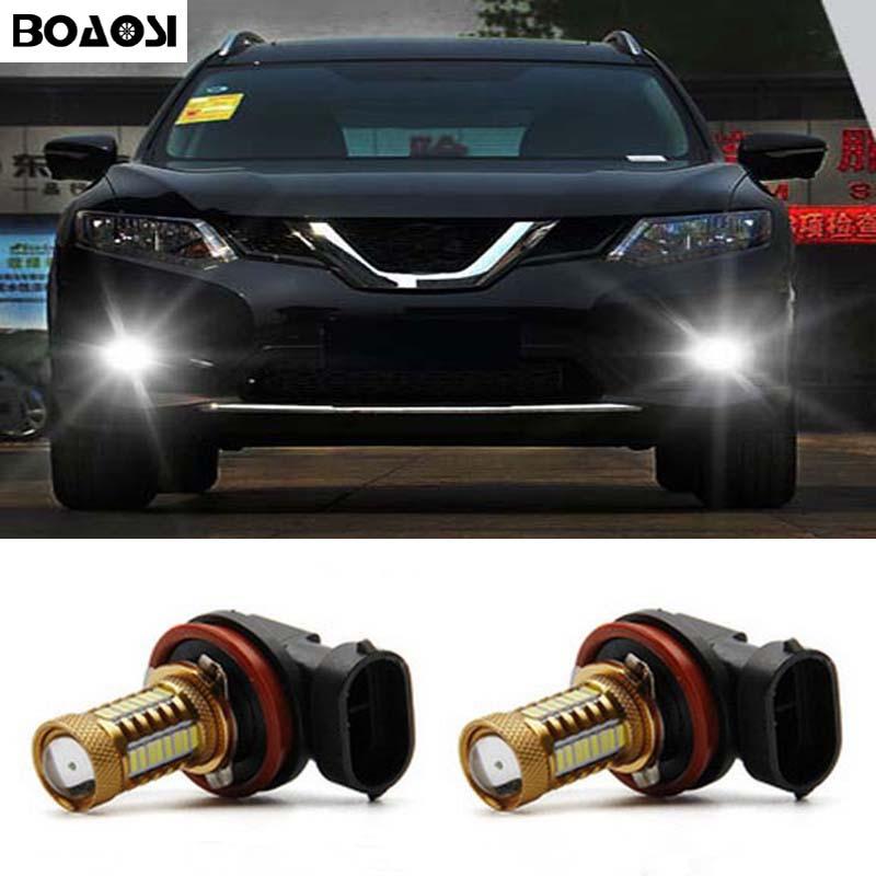 BOAOSI 2x Bright Error free H8 H11 LED 4014 SMD Car projector Fog Light bulb For Renault Megane Fluence Koleos Latitude