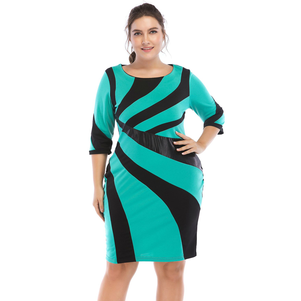 Detail Feedback Questions about Wipalo Plus Size Irregular PU Leather  Contrast Stitching Dress Slim OL Bodycon Dress Women Dresses 6X Big Size  Clothes ... c25c8db42dcc