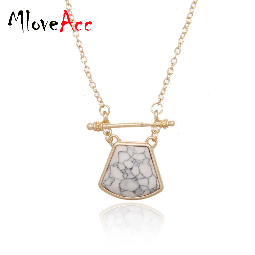 Bridal classics necklace sets mj 259 - Fashion Long Chain Necklaces For Women White Geometric Marble Stone Pendants Necklaces Costume Jewelry Kolye