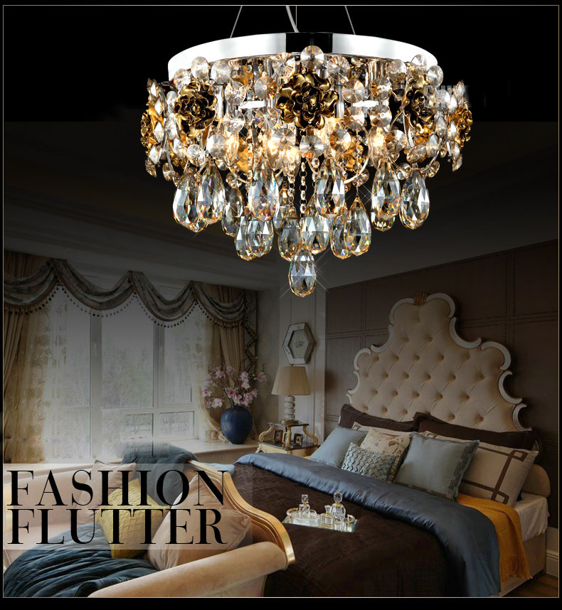 Luxurious Round LED K9 Crystal Ceramic Pendant Lamp Light Hanging Lighting E14 AC 110/220V bedroom/foyer home decoration lamps