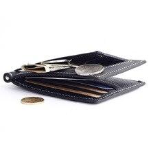 Genuine Leather fashion Mini Money clips Pocket purses Casual zipper clamp Slim