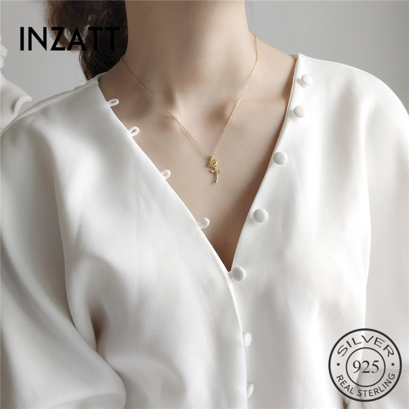 INZATT Romantic Real 925 Sterling Silver Rose Flower Lovers' Pendant Necklace Fashion Jewelry For Women Valentine's Day Gift|Pendant Necklaces| |  -