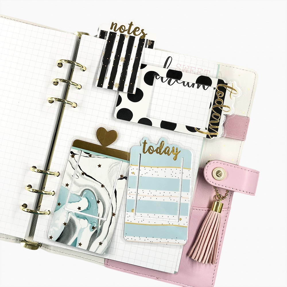 Fromthenon Plastic Covered Bookmark Notebook And Journals Clip Index Divider Planner Accessories Cute School Stationery Supplies