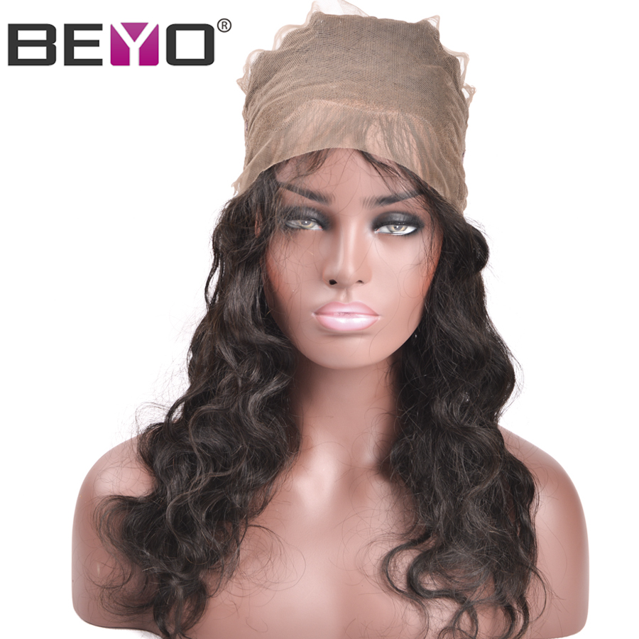 Beyo 360 Lace Frontal With Baby Hair Natural Hairline Peruvian Hair Body Wave Bundles 8-24 INCH Non-Remy Human Hair Closure