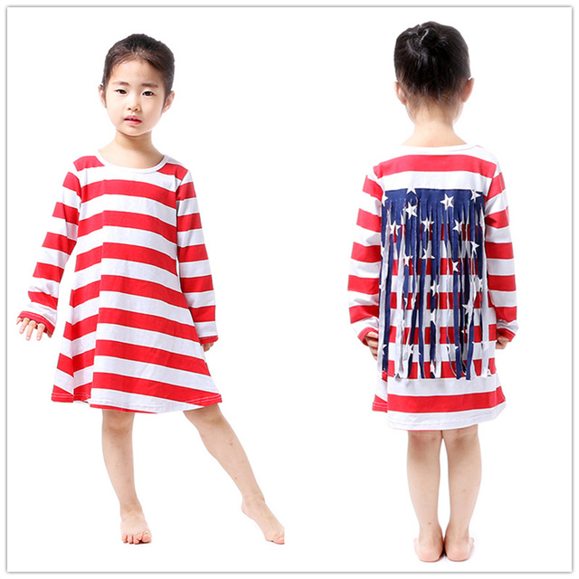 Hot Sale New 2016 Fall Girl Dress Kids For Sale Red White Blue Star