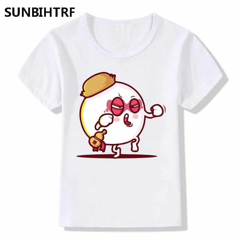 酔った戦い悪役デザイン子供の面白いカンフーtシャツ大きな男の子/女の子半袖トップスtシャツキッズ夏カジュアル服