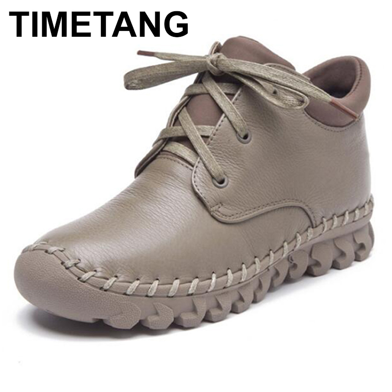 TIMETANG 2017 Winter New fashion Handmade women genuine leather shoes shoes flats ankle boots short boots