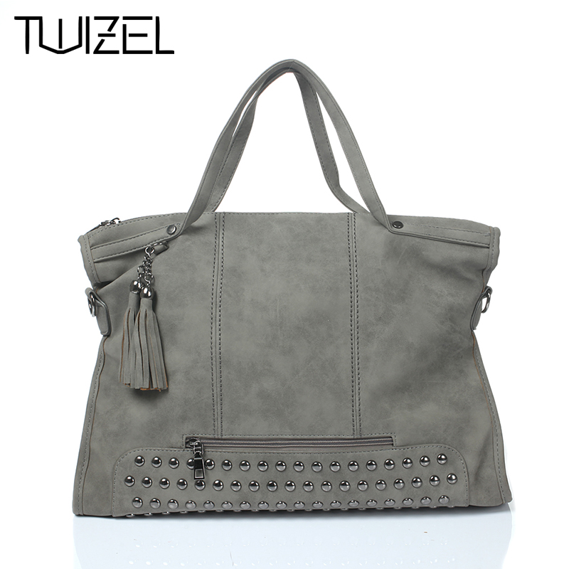 ФОТО New 2016 Fashion Rivet Women Handbag Frosted Women Messenger Bag Large Capacity Women Tote Shoulder Ladies Tassel Bag HQB1338