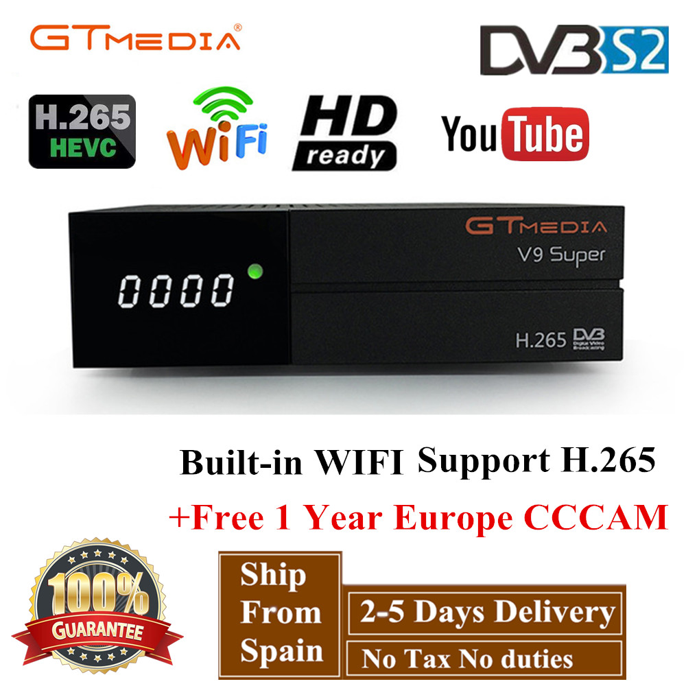 GTMedia V9 Super Satellite Receiver Bult-in WiFi with 1 Year Spain Europe  Cccam line Full HD DVB-S2/S Freesat V9 Super Receptor