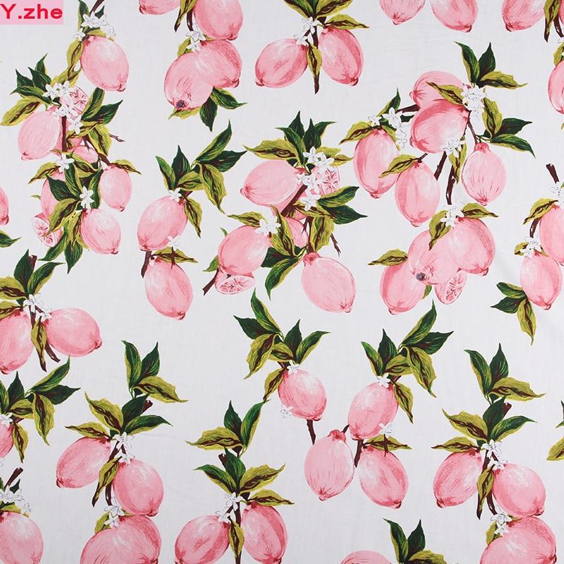 넓은 140 센치 메터 100 %면 직물 핑크 레몬 인쇄 코튼 퀼트 패치 워크 천 재봉 재료 Diy 의류 여성 드레스