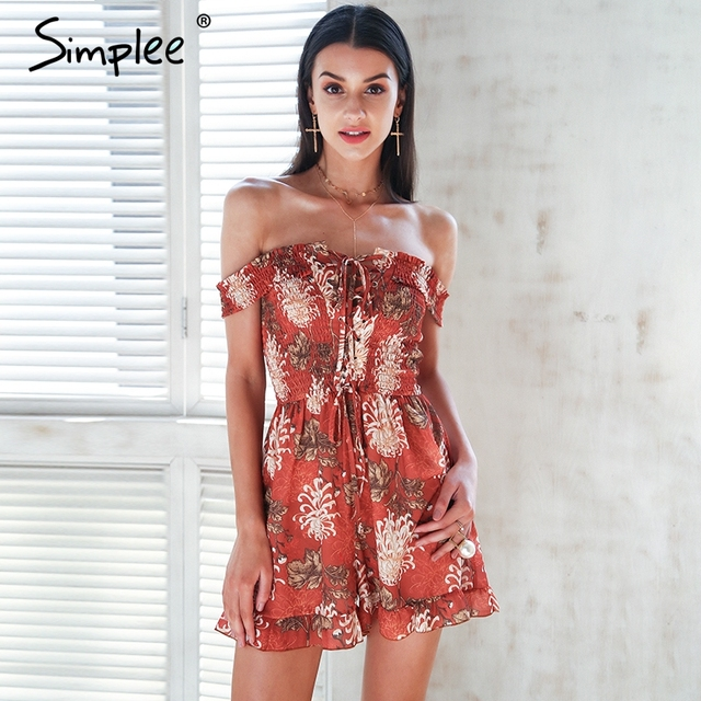 c1724a9b54a Simplee Floral print jumpsuit romper women Off shoulder lace up boho  clothing jumsuit 2018 Summer strap