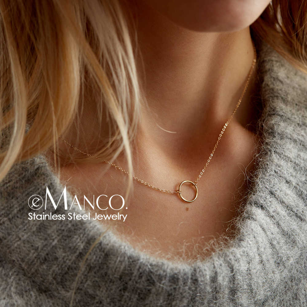 e-Manco statement necklace women dainty stainless steel necklace choker pendant necklace fashion jewelry