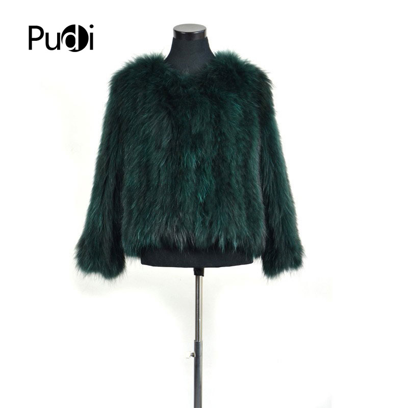 CR080 New green black jasper Genuine raccoon fur coat women s real fur knitted jacket winter