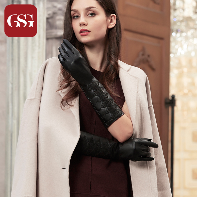 GSG Women Long Genuine Leather Gloves Touchscreen Winter Warm Lined Driving Gloves Fashion Elbow Embossed Diamond