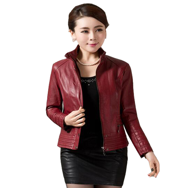4xl 5xl High Quality Women Leather Jackets Brown Red Blue Stand Collar Faux Leather Coat Zipper Women Plus Size Clothing Outwear 1