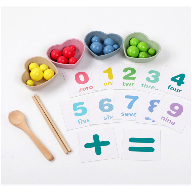 Set of Math Number Cards and Beads for Multifunctional Learning