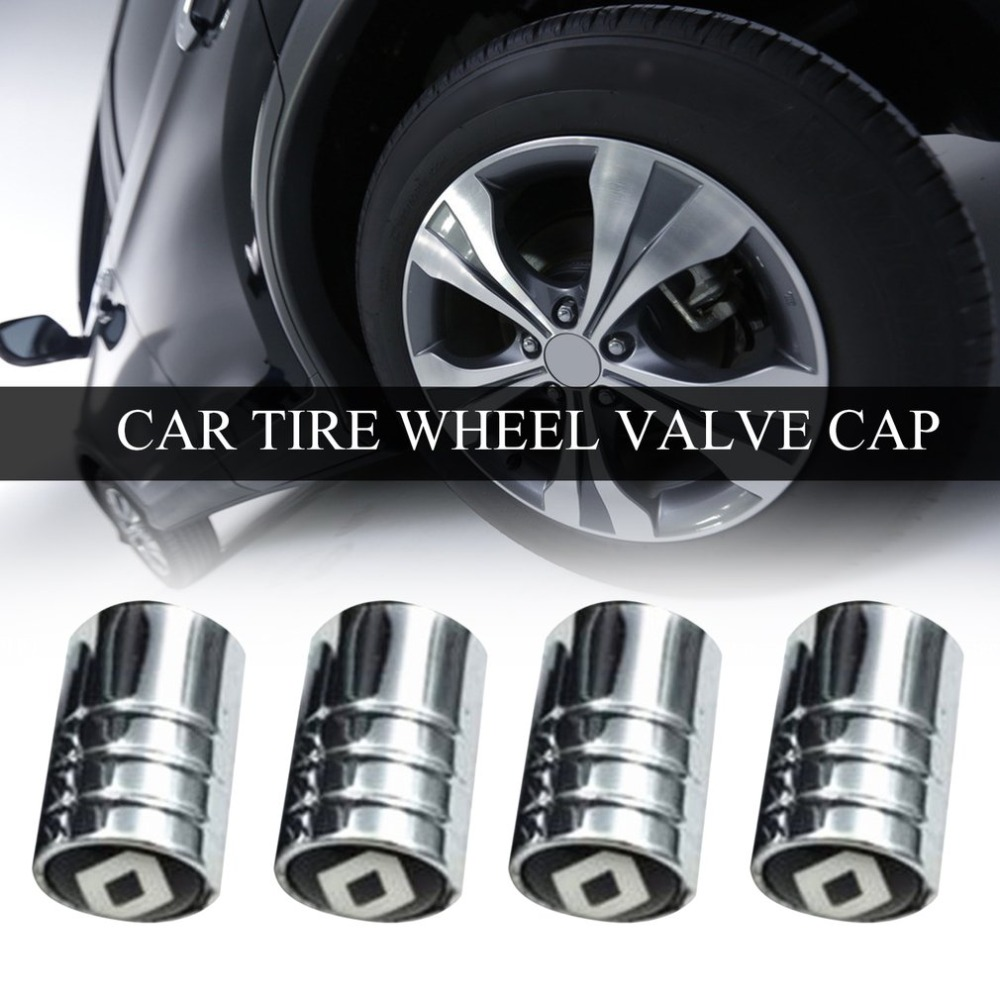 New 4PCS/SET Lovely Cute Design Car Wheel Tire Valve Tyre Caps Durable Metal Car-Styling Air Valve Cap Suitable For Renault